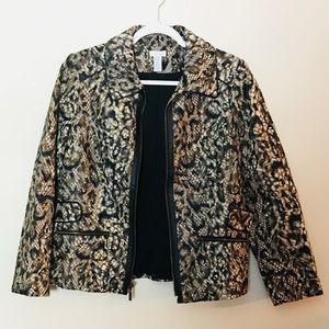 Chico's zip up blazer jacket   Animal print